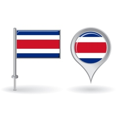 Costa Rican pin icon and map pointer flag vector
