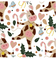cow seamless pattern vector image