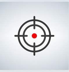 crosshair with red dot icon isolated on white vector image