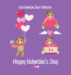 cute valentine bear collection vector image