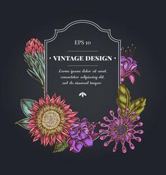 Dark badge design with african daisies fuchsia vector