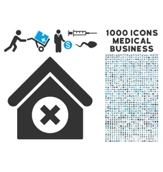 Delete Building Icon with 1000 Medical Business vector image