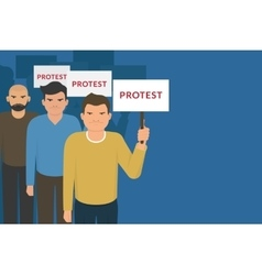 Demonstration and protest concept crowd of angry vector image