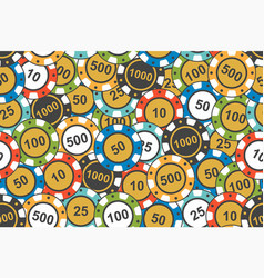 different colorful casino chips seamless pattern vector image