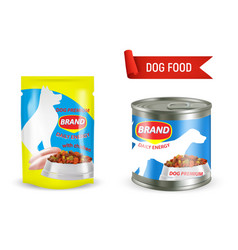 dog food package mockup set vector image