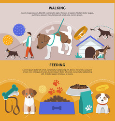 Dogs walking feeding banners vector