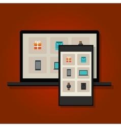 ecommerce online commerce retail multi shopping vector image