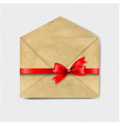 envelop with red bow isolated transparent vector image