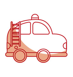 firefighter car drawing icon vector image