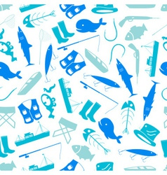 Fishing icons blue and white pattern eps10 vector
