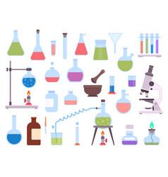 flat chemistry laboratory glassware equipment vector image