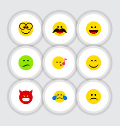 Flat icon gesture set of descant cheerful frown vector