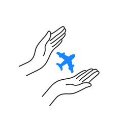 flying plane with linear woman hands vector image