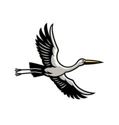 Flying stork bird vector