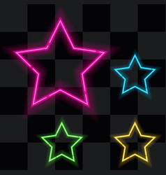 Glowing neon stars set four vector