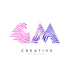 gm g m zebra lines letter logo design with vector image