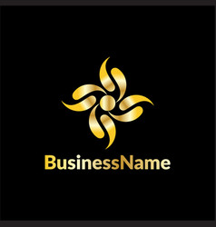 Gold leaf business logo vector