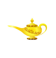 golden elegant magic lamp arabian fairy tale vector image