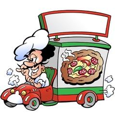 Hand-drawn an italien pizza dilevery car vector