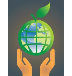 hand holding earth globe 5 vector image
