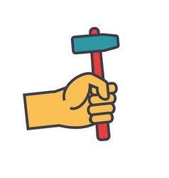 hand with hammer flat line concept vector image