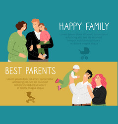 happy family banners set vector image
