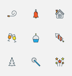 happy icons colored line set with christmas tree vector image
