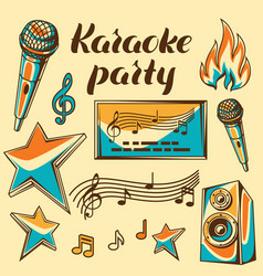 Karaoke party items music event set of objects vector