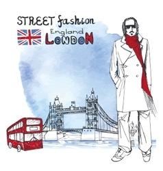 London dude menWatercolor backgroundStreet vector