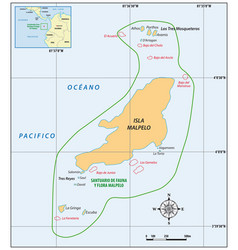 map colombian pacific island malpelo vector image