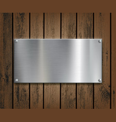 metal plate on a wooden background vector image