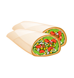 Mexican burrito isolated icon vector