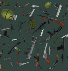 military gun seamless pattern automatic and hand vector image