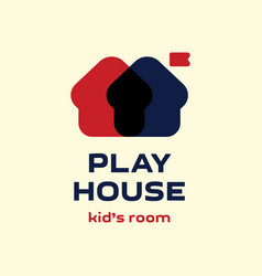 modern professional logoplay house in blue and red vector image