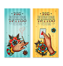 oldschool tattoo hands vertical banners vector image