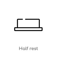 Outline half rest icon isolated black simple line vector