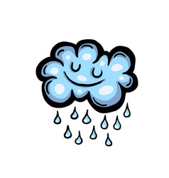 painted cartoon rain cloud vector image