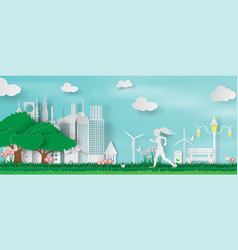paper art and craft of green parks with woman vector image