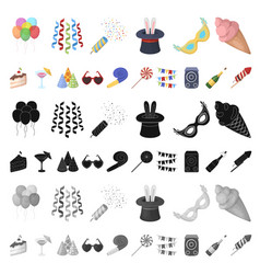 party entertainment cartoon icons in set vector image