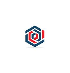 polygon line circle colored logo vector image