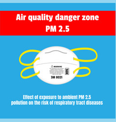 Protective mask for air quality danger zone pm 25 vector