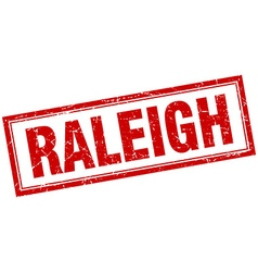Raleigh red square grunge stamp on white vector