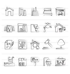 real estate services icons vector image