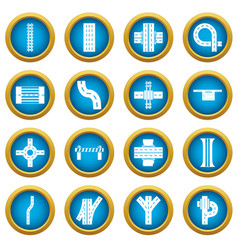 Road parts constructor icons set simple style vector
