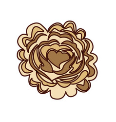 rose with heart icon vector image