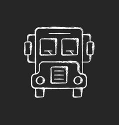 school bus chalk white icon on dark background vector image