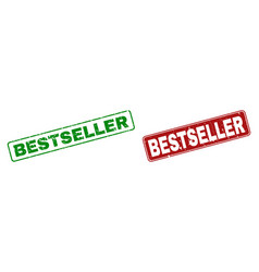 scratched bestseller stamps with rounded rectangle vector image