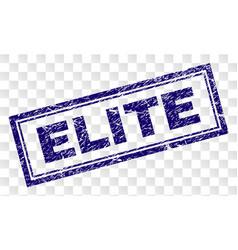 Scratched elite rectangle stamp vector