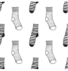 seamless black white pattern of doddle socks for vector image