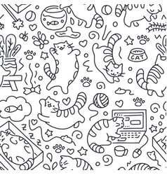 Seamless pattern with cute cats line drawing vector